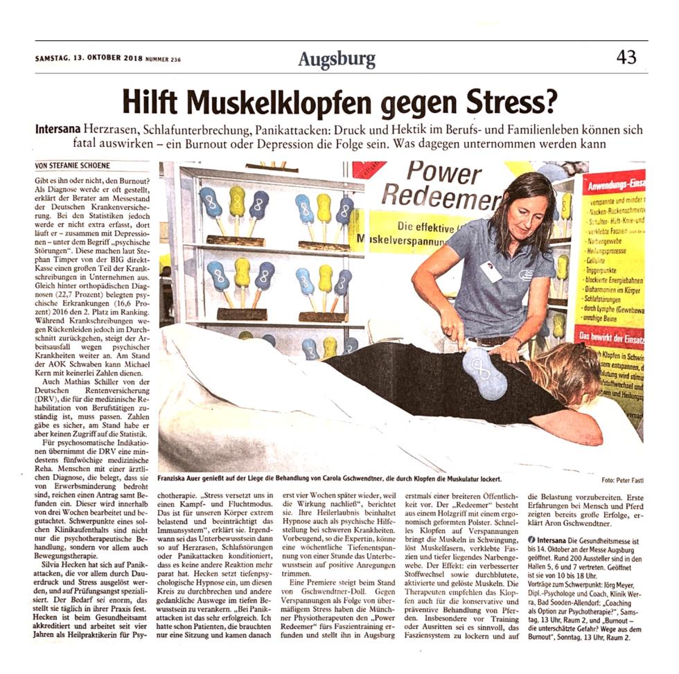 Augsburger Allgemeine. Hilft Muskelklopfen gegen Stress?